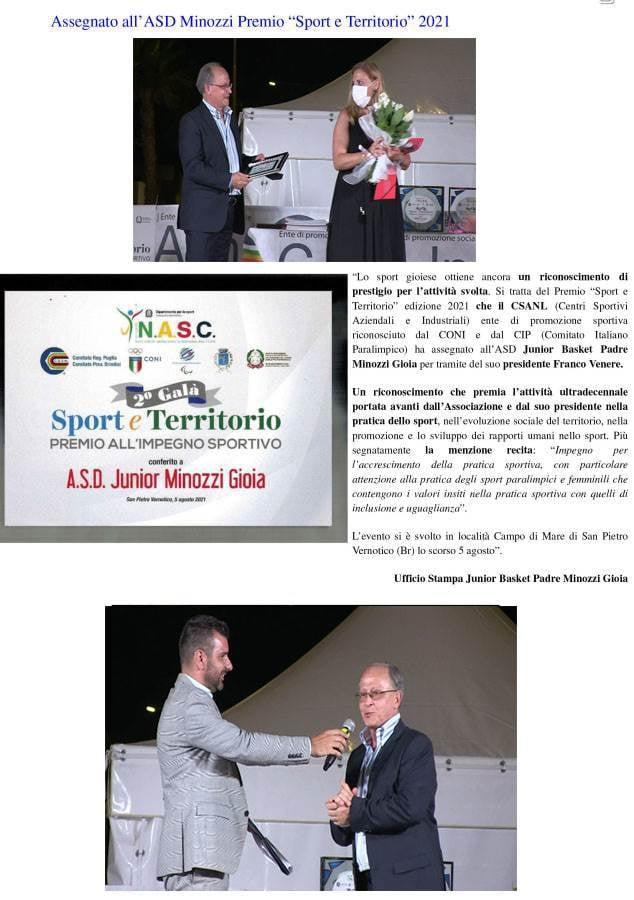 premiazione per impegno sportivo della Minozzi